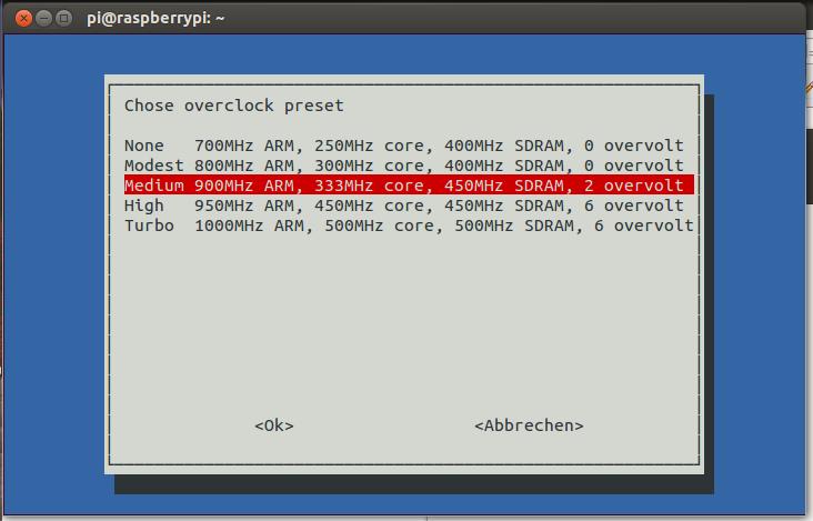Raspberry Config Overclock