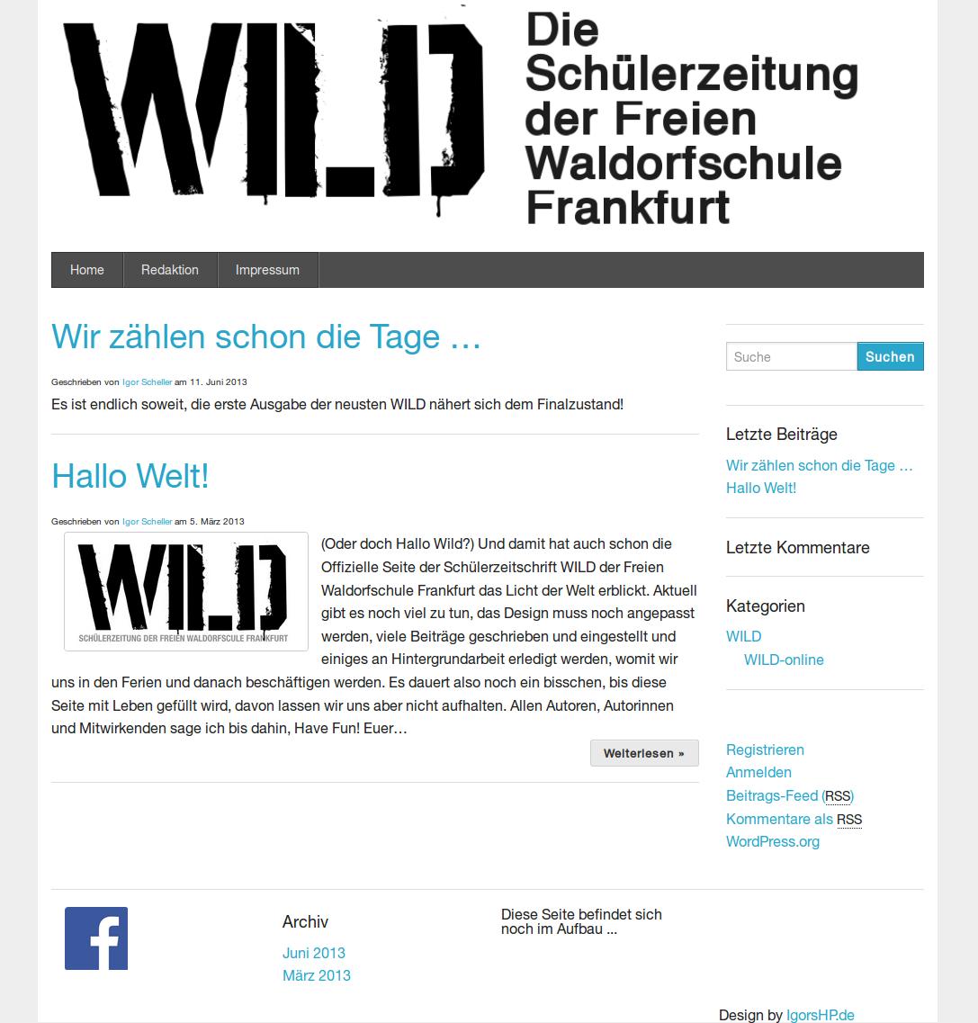 Design der WILD Schülerzeitung